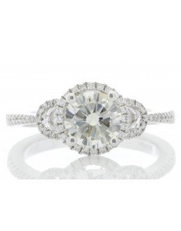 18ct White Gold Single Stone Claw Set With Stone Set Shoulders Diamond Ring (1.05) 1.28 Carats