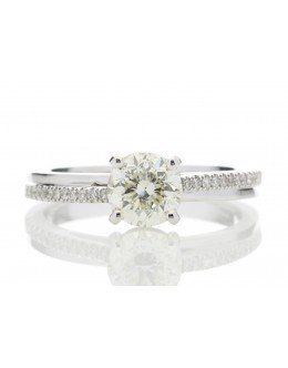 18ct White Gold Single Stone Claw Set With Stone Set Shoulders Diamond Ring (1.01) 1.11 Carats