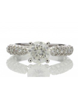 18ct White Gold Single Stone Claw Set With Stone Set Shoulders Diamond Ring (1.08) 1.58 Carats