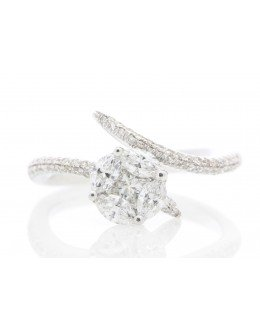 18ct White Gold Single Stone Look With Stone Set Shoulders Diamond Ring 1.17 Carats