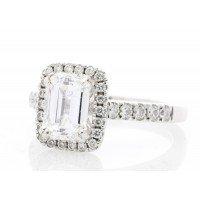 18ct White Gold Single Stone Emerald Cut Diamond Ring (1.71) 2.03 Carats