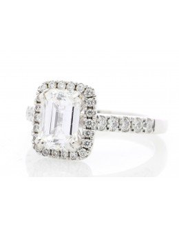 18ct White Gold Single Stone Emerald Cut Diamond Ring (1.71) 2.03 Carats