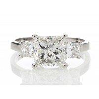 18ct White Gold Three Stone Princess Cut Diamond Ring 2.00 Carats