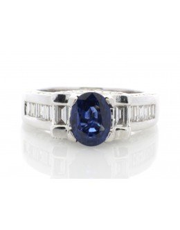 18ct White Gold Rub Over Set Semi Eternity Diamond And Sapphire Ring (S 3.60) 1.27 Carats