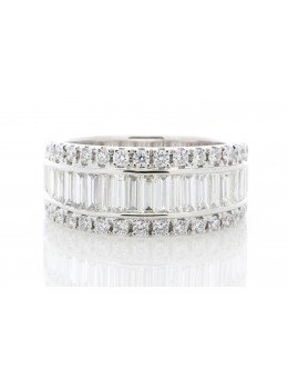 18ct White Gold Channel Set Semi Eternity Diamond Ring 2.12 Carats