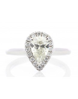 18ct White Gold Pear Cluster Claw Set Diamond Ring 1.21 Carats