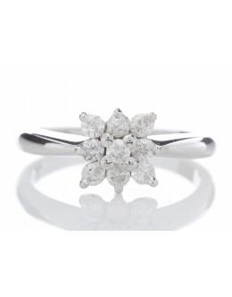 18ct Nine Stone Square Cluster Diamond Ring 0.45 Carats