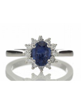 18ct White Gold Diamond And Sapphire Cluster Ring 0.25 Carats