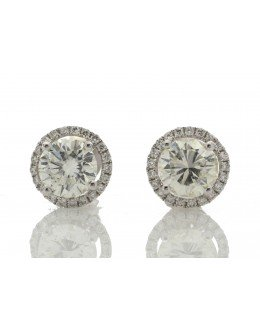 18ct White Gold Single Stone Halo Set Earrings (2.03) 2.26 Carats