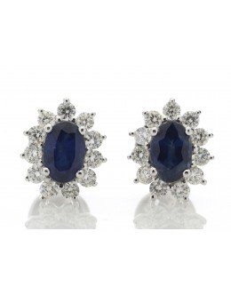 18ct White Gold Oval Cluster Claw Set Diamond And Sapphire Earring (S 1.33) 0.62 Carats