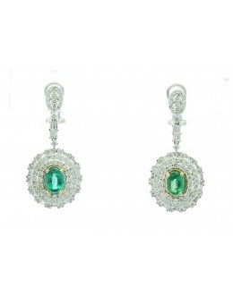 18ct White Gold Diamond And Emerald Drop Earrings (E2.61) 3.74 Carats