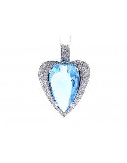 18ct White Gold Single Stone Heart Cut Diamond And Blue Topaz Pendant 1.10 Carats