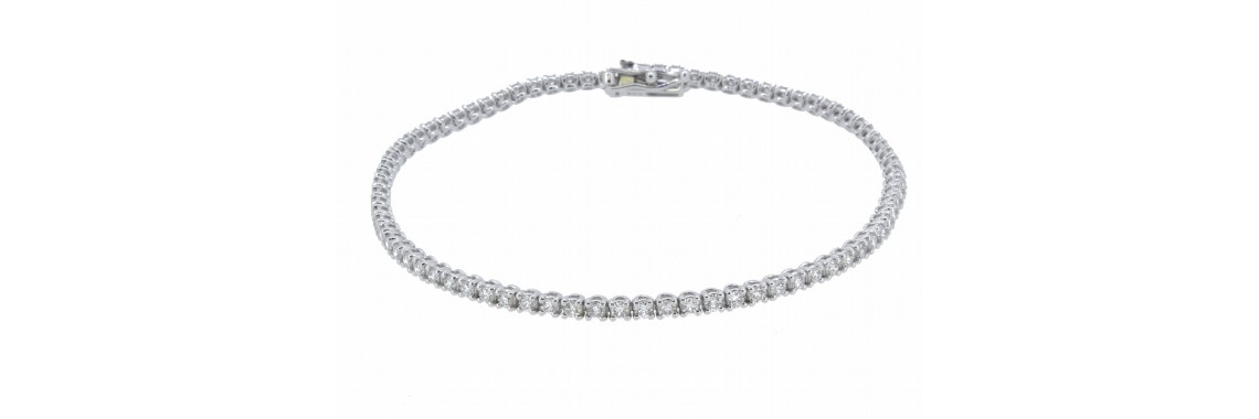 18ct White Gold Tennis Diamond Bracelet