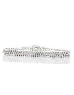 18ct White Gold Three Row Tennis Diamond Bracelet 7.22 Carats