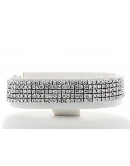 18ct White Gold Five Row Tennis Diamond Bracelet 11.73 Carats