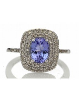 14ct Gold Oval Tanzanite And Diamond Cluster Ring 0.33 Carats