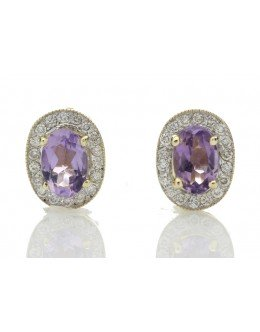 9ct Yellow Gold Amethyst and Diamond Cluster Earring 0.18 Carats