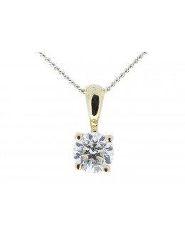 9ct Yellow Gold Single Stone Claw Set Diamond Pendant 0.50 Carats