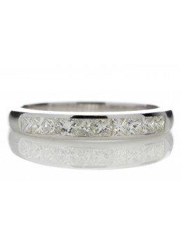 9ct White Gold Channel Set Half Eternity Diamond Ring 0.50 Carats