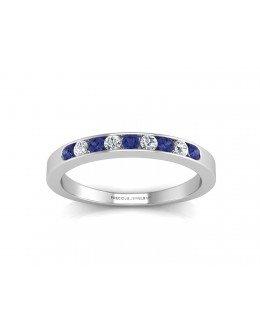 9ct White Gold Channel Set Semi Eternity Diamond & Sapphire Ring 0.12 Carats