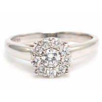 9ct White Gold Round Cluster Diamond Ring 0.50 Carats