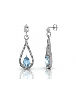 9ct White Gold Diamond And Blue Topaz Earring 0.02 Carats