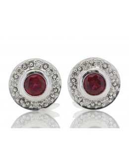 9ct White Gold Created Ruby Diamond Earring 0.16 Carats
