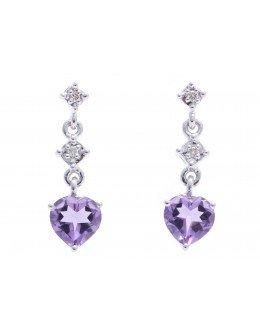9ct White Gold Amethyst Heart Shape Diamond Earring 0.02 Carats