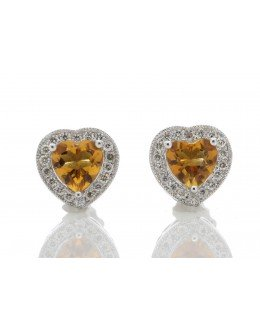 9ct White Gold Citrine Heart Diamond Earring 0.18 Carats