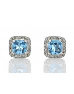 9ct White Gold Blue Topaz Diamond Earring 0.20 Carats