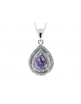 9ct White Gold Amethyst Pear Shaped Cluster Diamond Pendant 0.08 Carats