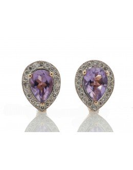 9ct Rose Gold Amethyst Diamond Earring 0.20 Carats